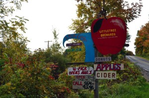 A sign welcomes visitors to Littletree Orchards in Newfield, NY.